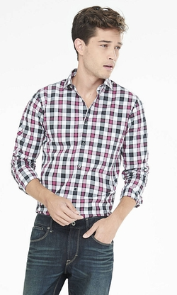 Express - Fitted Outlined Check Plaid Dress Shirt