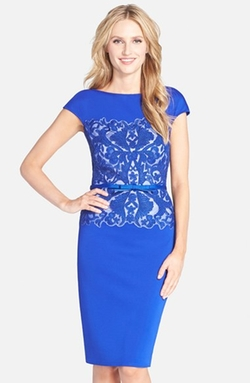 Tadashi Shoji - Belted Embroidered Neoprene Sheath Dress