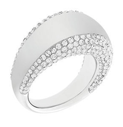 Swarovski - Pebble Silvertone and Crystal Ring