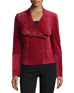 Neiman Marcus  - Suede Asymmetric Zip-Front Jacket
