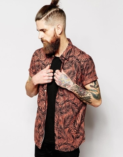 Scotch & Soda  -  Palm Leaf Print Short Sleeves Shirt