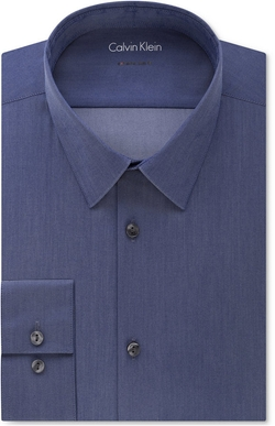 Calvin Klein - X Extra Slim-Fit Stretch Navy Chambray Solid Dress Shirt