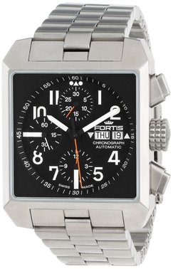 Fortis  - Square Stainless Steel Chronograph Date Watch