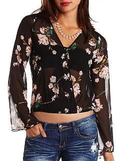 Charlotte Russe - Floral Print Chiffon Long Sleeve Wrap Top