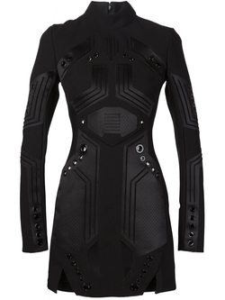 Mugler   - Eyelet Detail Panelled Dress