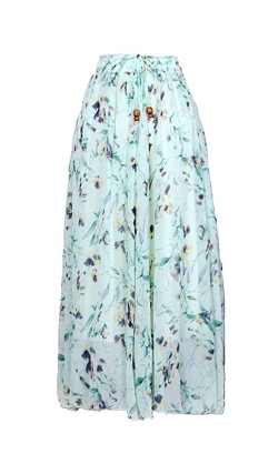 Tofly  - Floral Waist Long Skirt