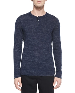 Vince  - Wool-Blend Long-Sleeve Henley Tee