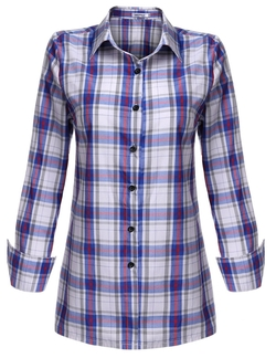 Meaneor - Polka Dot Lined Roll Up Sleeve Button Down Plaid Shirt