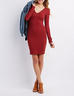 Charlotte Russe - Ribbed V-Neck Bodycon Dress
