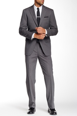 Hart Schaffner Marx  - Chicago Grey Pinstripe Two Button Notch Lapel Wool Suit