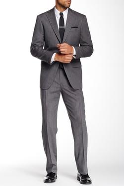 Hart Schaffner Marx  - Chicago Grey Pinstripe Two Button Notch Lapel Wool Suit