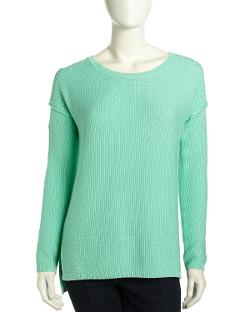Vince  - Popcorn-Knit High-Low Sweater, Mint Chip