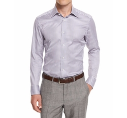 Ermenegildo Zegna  - Bold-Striped Long-Sleeve Sport Shirt