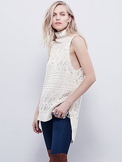 Free People - Cable Fringe Pullover