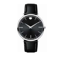 Movado - Stainless Steel & Leather Ultra Slim Watch