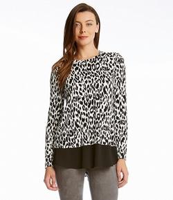 Karen Kane -  Leopard Print Contrast Top