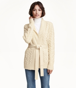 H&M - Cable-Knit Wool-Blend Cardigan