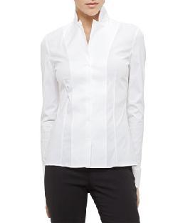Akris  - Long-Sleeve Notched-Collar Poplin Blouse