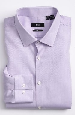Boss - Slim Fit Herringbone Dress Shirt