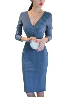 Uxcell - V Neck Long Sleeves Sheath Dress