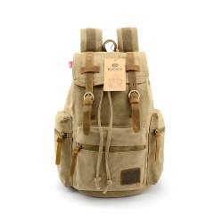 Bluboon - Vintage Men Casual Canvas Backpack Rucksack