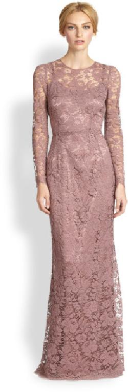 Dolce & Gabbana -  Long-Sleeve Lace Gown/Rose