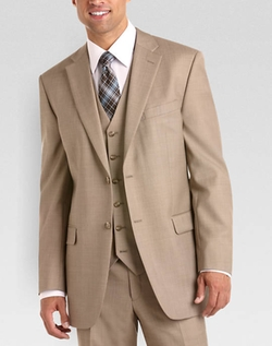 Jones New York  - Tan Sharkskin Vested Suit