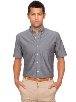 American Apparel - Pinpoint Oxford Short Sleeve Button-Down with Pocket