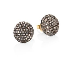 Nina Gilin  - Diamond & 14K Yellow Gold Disc Stud Earrings