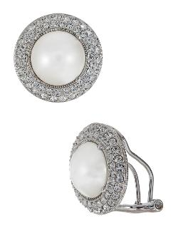 Nadri - Pave Faux Pearl Stud Earrings