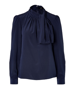 Steffen Schraut  - Stretch Silk Tie Neck Blouse