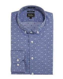 Neiman Marcus  - Regular-Finish Trim-Fit Floral-Print Dress Shirt