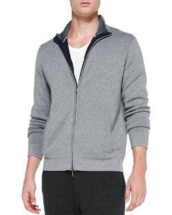 Neiman Marcus - Full-Zip Cotton-Cashmere Blend Cardigan