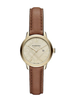 Burberry - Goldtone IP Leather Strap Watch