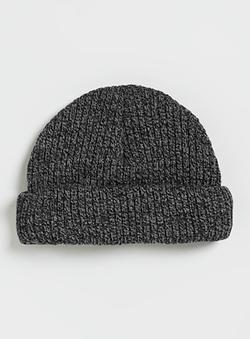 Topman - Charcoal And Black Mini Roll Beanie