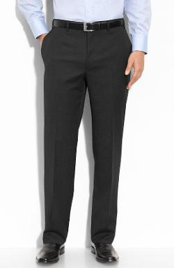 Canali  - Flat Front Wool Trousers