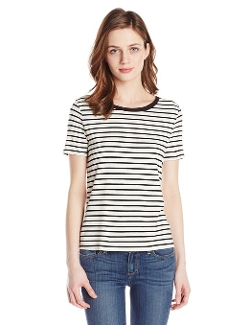 Three Dots - Short Sleeve Stripe Crew Neck Top