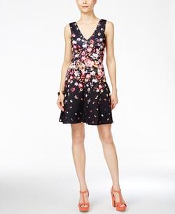 Jessica Simpson - Sleeveless Floral-Print Fit & Flare Dress