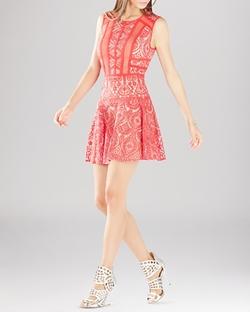 BCBGMAXAZRIA  - Shira Sleeveless Lace Flounce Mini Dress