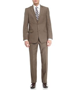 Neiman Marcus  - Wool Twill Modern-Fit Suit, Taupe