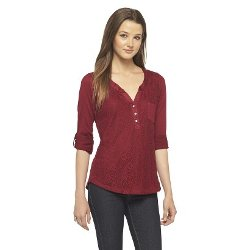 Self Esteem  - Roll Sleeve Lace Front Henley Shirt