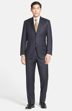Canali  - Classic Fit Plaid Wool Suit