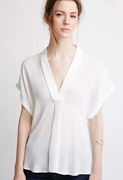 Forever21 - V-Neck Shawl Collar Blouse