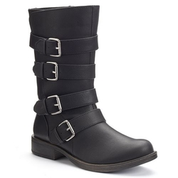 So - Strappy Buckled Moto Boots