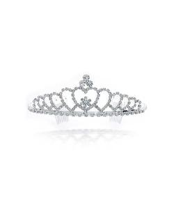 Bling Jewelry - Heart Rhinestone Crystal Bridal Crown Tiara