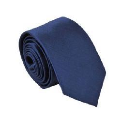 Ebest - Polyester Narrow Neck Tie Skinny Solid Dark Blue Thin Necktie for Men