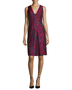 Carmen Marc Valvo  - Sleeveless Floral-Print Cocktail Dress