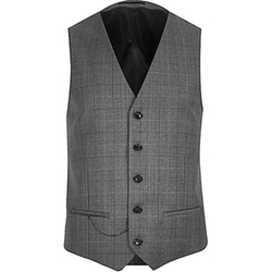 River Island - Check Wool-Blend Vest