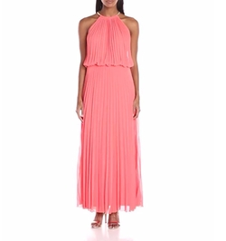 MSK - Pleated Halter Solid Maxi Dress