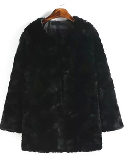 Romwe - Long Sleeve Faux Fur Coat